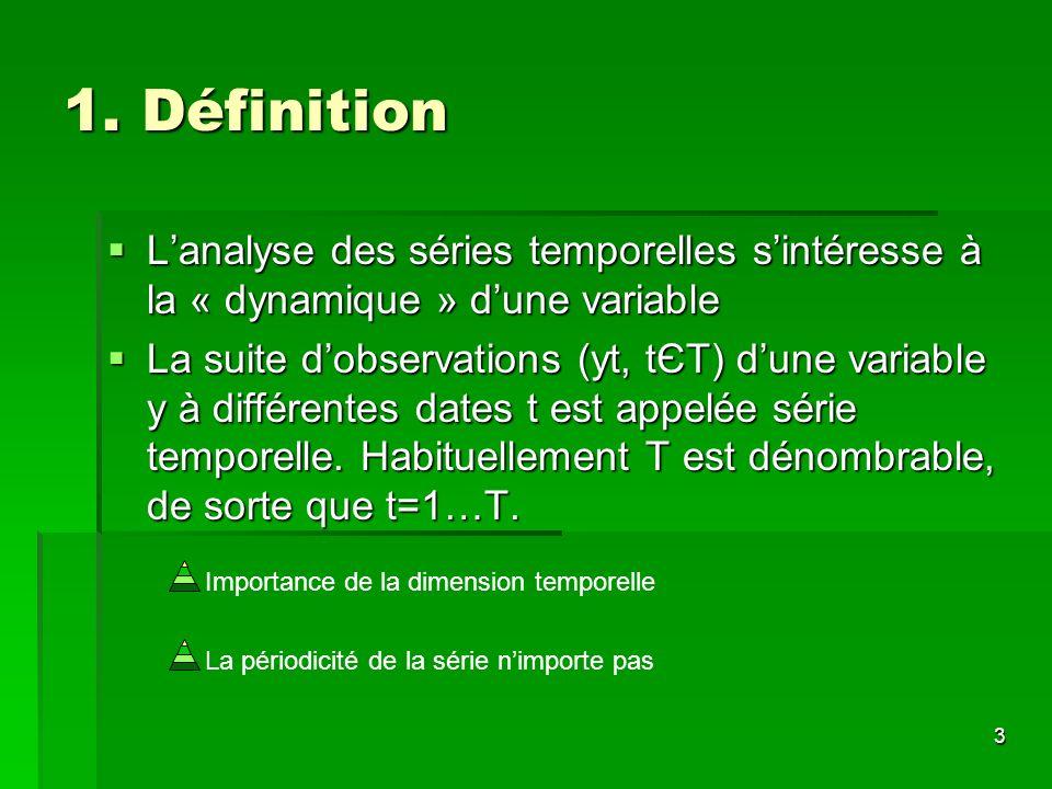 3 Importance de la dimension temporelle La périodicité de la série nimporte pas 1. Définition Lanalyse des séries temporelles sintéresse à la « dynami