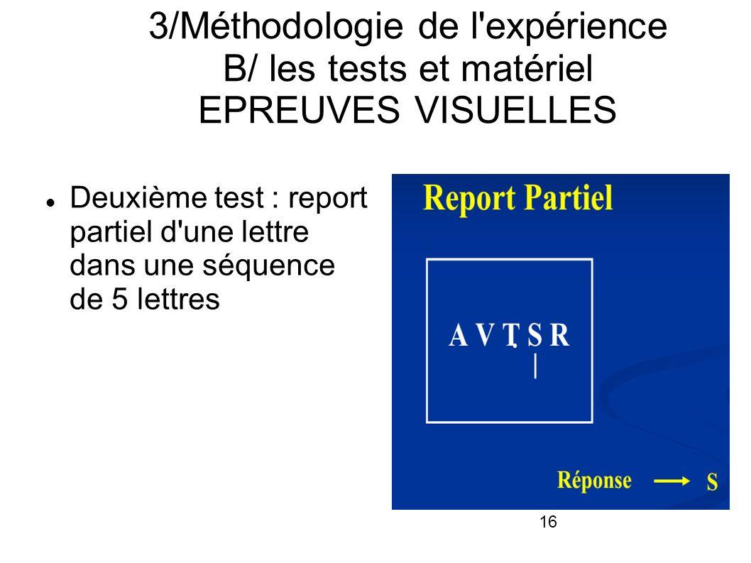 16 3/Méthodologie de l'expérience B/ les tests et matériel EPREUVES VISUELLES Deuxième test : report partiel d'une lettre dans une séquence de 5 lettr