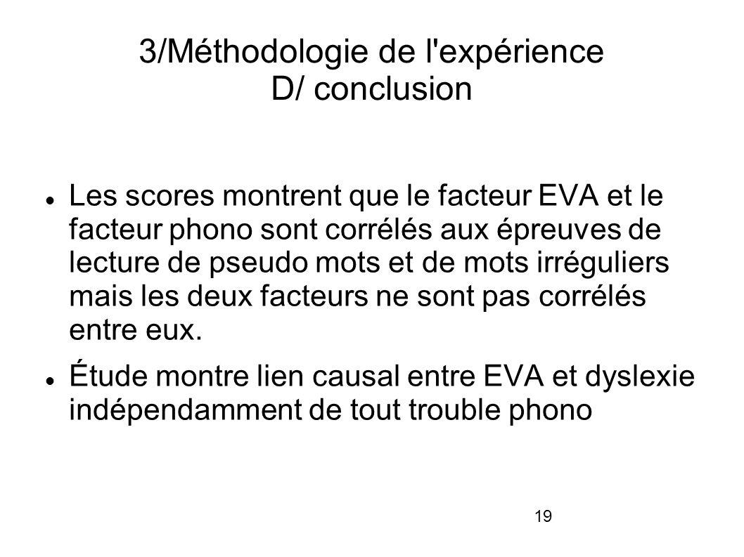 19 3/Méthodologie de l expérience D/ conclusion Les scores montrent que le facteur EVA et le facteur phono sont corrélés aux épreuves de lecture de pseudo mots et de mots irréguliers mais les deux facteurs ne sont pas corrélés entre eux.