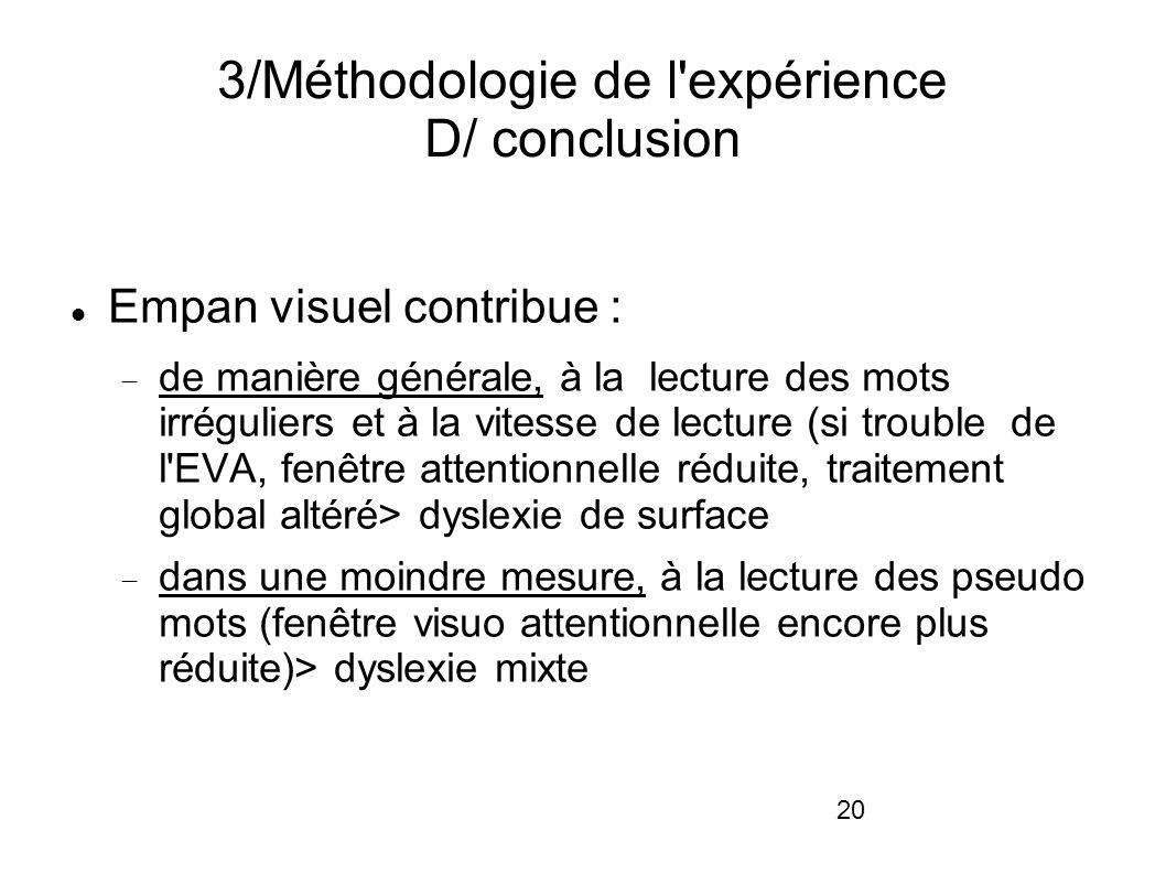 20 3/Méthodologie de l'expérience D/ conclusion Empan visuel contribue : de manière générale, à la lecture des mots irréguliers et à la vitesse de lec