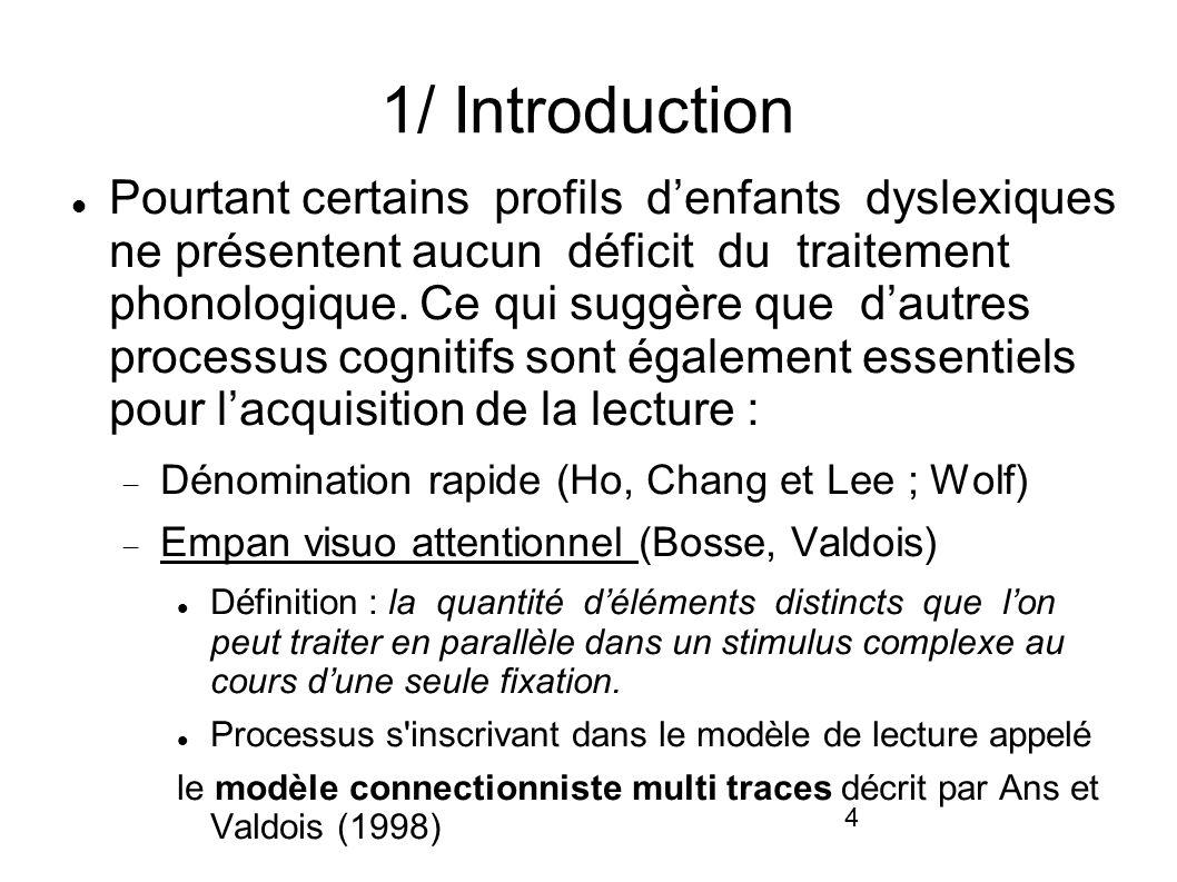 4 1/ Introduction Pourtant certains profils denfants dyslexiques ne présentent aucun déficit du traitement phonologique. Ce qui suggère que dautres pr