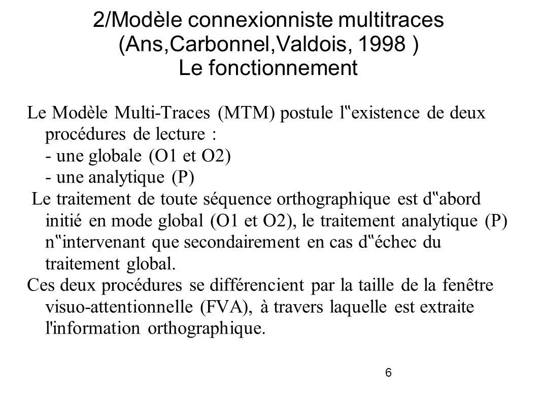 6 2/Modèle connexionniste multitraces (Ans,Carbonnel,Valdois, 1998 ) Le fonctionnement Le Modèle Multi-Traces (MTM) postule l existence de deux procédures de lecture : - une globale (O1 et O2) - une analytique (P) Le traitement de toute séquence orthographique est d abord initié en mode global (O1 et O2), le traitement analytique (P) n intervenant que secondairement en cas d échec du traitement global.