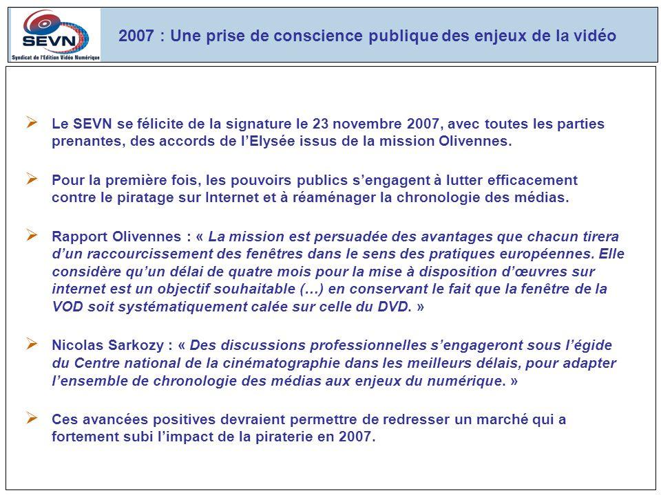Le SEVN se félicite de la signature le 23 novembre 2007, avec toutes les parties prenantes, des accords de lElysée issus de la mission Olivennes.