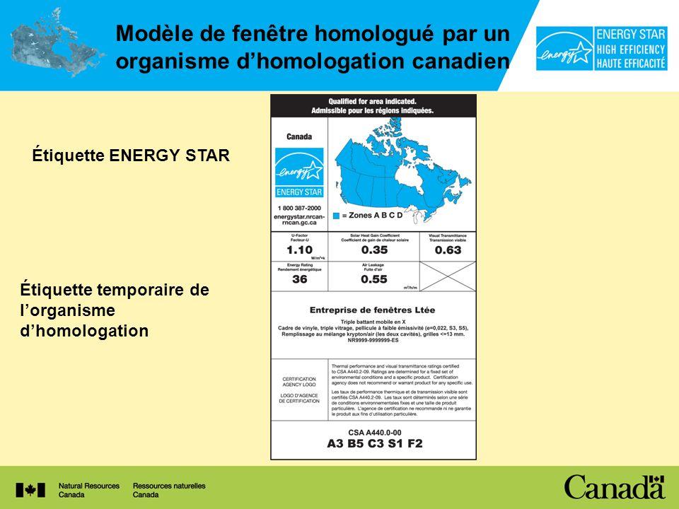 Modèle de fenêtre homologué par un organisme dhomologation canadien Étiquette ENERGY STAR Étiquette temporaire de lorganisme dhomologation