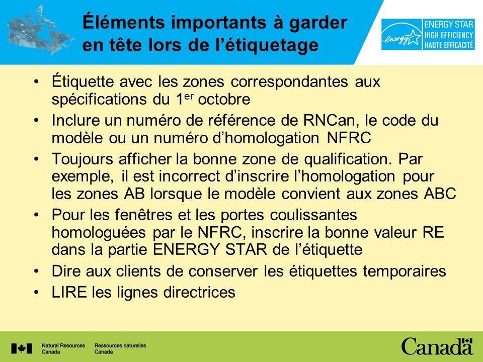 Éléments importants à garder en tête lors de létiquetage Étiquette avec les zones correspondantes aux spécifications du 1 er octobre Inclure un numéro