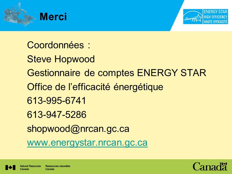 Merci Coordonnées : Steve Hopwood Gestionnaire de comptes ENERGY STAR Office de lefficacité énergétique 613-995-6741 613-947-5286 shopwood@nrcan.gc.ca