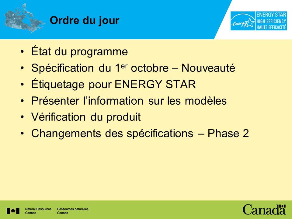 Ordre du jour État du programme Spécification du 1 er octobre – Nouveauté Étiquetage pour ENERGY STAR Présenter linformation sur les modèles Vérificat