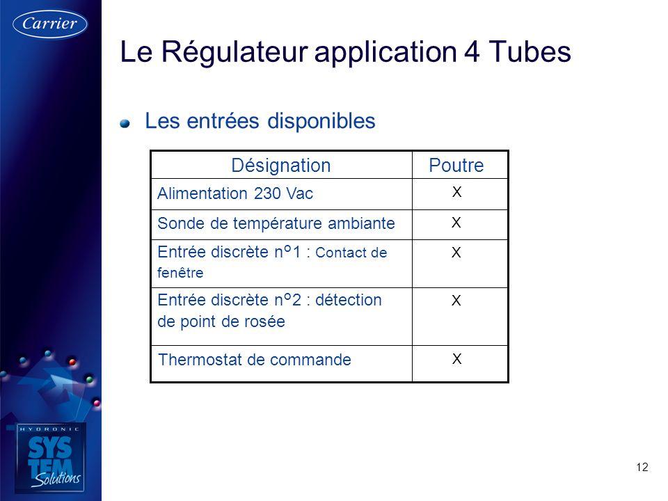 12 Le Régulateur application 4 Tubes Les entrées disponibles X Entrée discrète n°2 : détection de point de rosée X Entrée discrète n°1 : Contact de fe