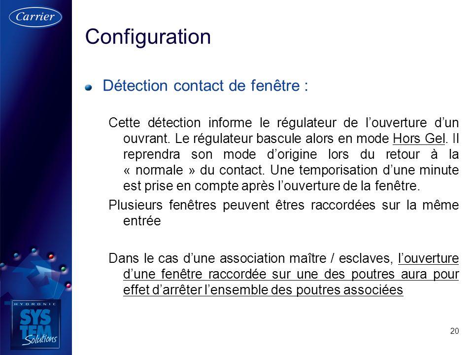20 Détection contact de fenêtre : Cette détection informe le régulateur de louverture dun ouvrant. Le régulateur bascule alors en mode Hors Gel. Il re
