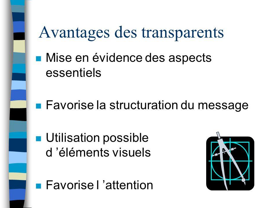 Utilité pédagogique des transparents n Soutien à l exposé n Présentation d éléments visuels n Point de départ à une activité de résolution de problème
