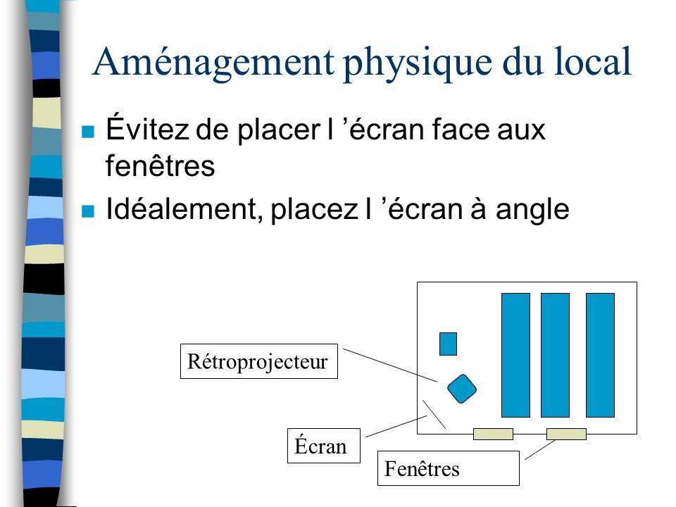 Limites des transparents n Absence de mouvement n Information synthétisée n Exige un aménagement particulier de la salle