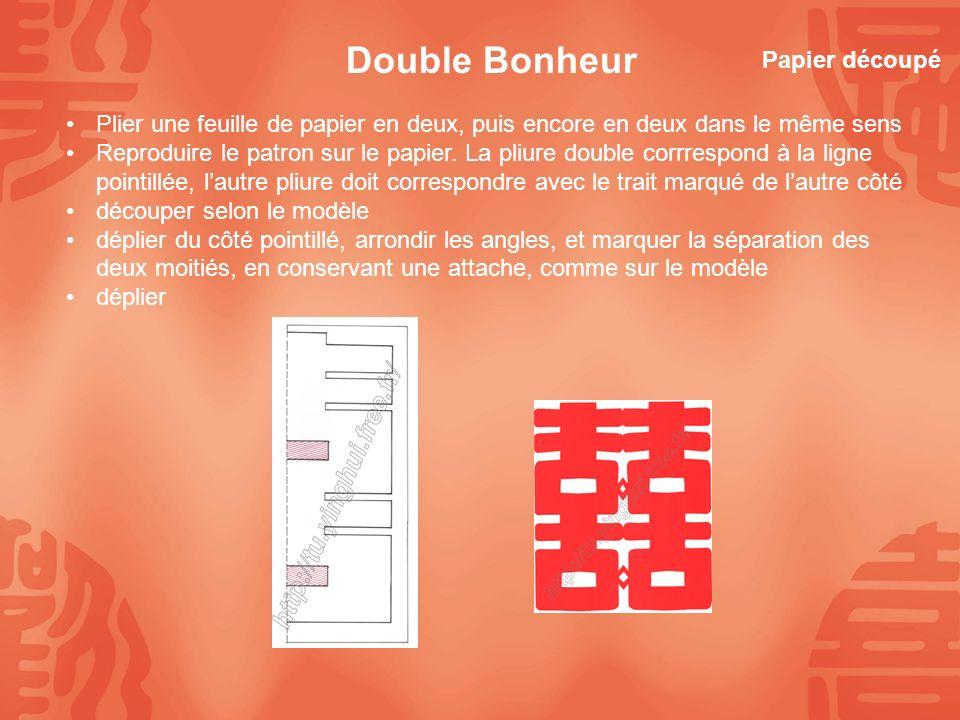 Plier une feuille de papier en deux, puis encore en deux dans le même sens Reproduire le patron sur le papier. La pliure double corrrespond à la ligne