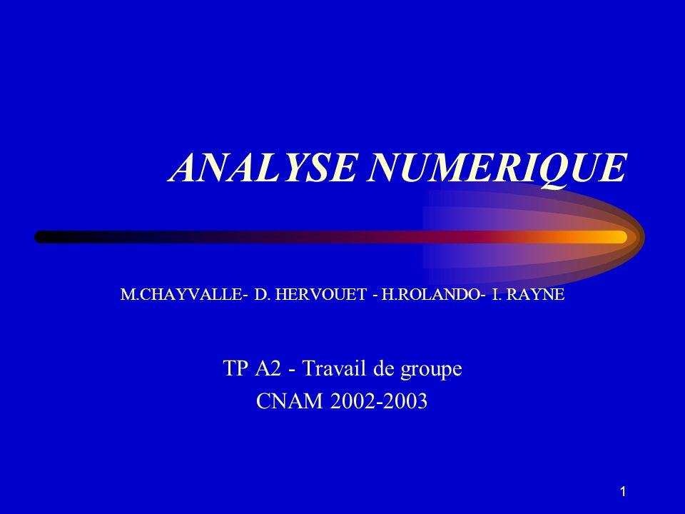1 ANALYSE NUMERIQUE M.CHAYVALLE- D. HERVOUET - H.ROLANDO- I. RAYNE TP A2 - Travail de groupe CNAM 2002-2003