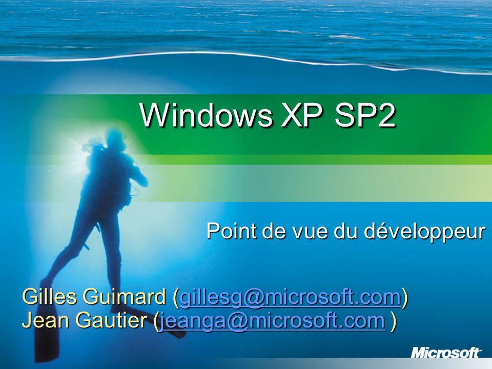 Agenda Protection Réseau Le Pare-feu de Windows XP DCOM Connections RPC Protection NX Outils de développement Sécurité du courrier électronique Sécurité Internet Explorer