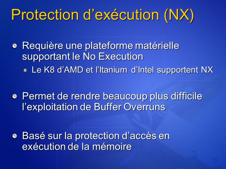 Protection dexécution (NX) Requière une plateforme matérielle supportant le No Execution Le K8 dAMD et lItanium dIntel supportent NX Permet de rendre beaucoup plus difficile lexploitation de Buffer Overruns Basé sur la protection daccès en exécution de la mémoire