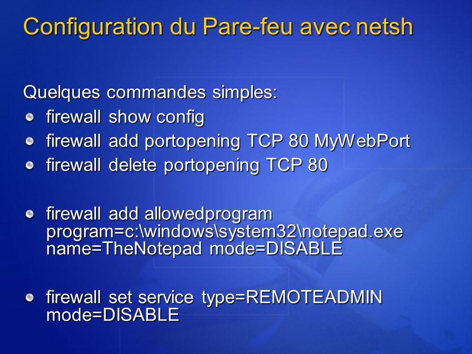 RestrictRemoteClients RPC_RESTRICT_REMOTE_CLIENT_NONE (0) Configuration pré Windows XP SP2 RPC_RESTRICT_REMOTE_CLIENT_DEFAUL T (1) Pas de connections anonymes (sauf si RPC_IF_ALLOW_CALLBACKS_WITH_NO_AUTH est utilisé lors de lenregistrement RPC_RESTRICT_REMOTE_CLIENT_HIGH (2): Idem 1 mais pas dexceptions admises Ne sapplique pas aux connections RPC via Tubes nommés (ncacn_np)