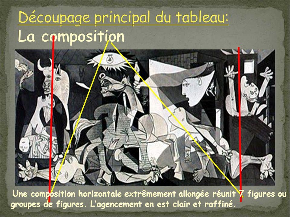 Une composition horizontale extrêmement allongée réunit 7 figures ou groupes de figures.