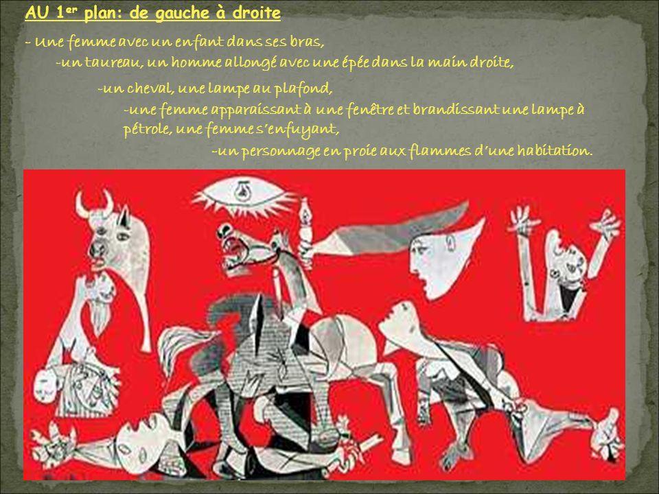 AU 1 er plan: de gauche à droite - Une femme avec un enfant dans ses bras, -un taureau, un homme allongé avec une épée dans la main droite, -un cheval, une lampe au plafond, -une femme apparaissant à une fenêtre et brandissant une lampe à pétrole, une femme senfuyant, -un personnage en proie aux flammes dune habitation.