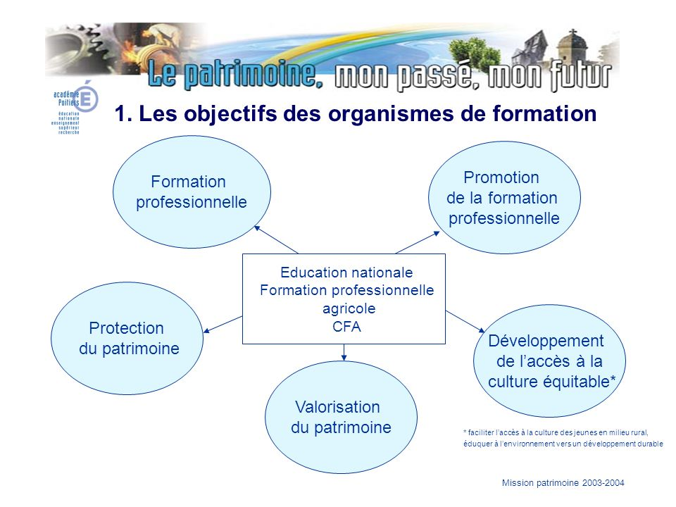 Mission patrimoine 2003-2004 Formation professionnelle Promotion de la formation professionnelle Protection du patrimoine Valorisation du patrimoine D