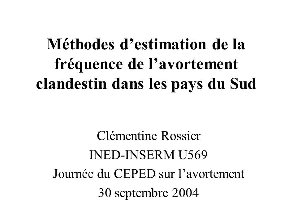Méthodes destimation de la fréquence de lavortement clandestin dans les pays du Sud Clémentine Rossier INED-INSERM U569 Journée du CEPED sur lavortement 30 septembre 2004