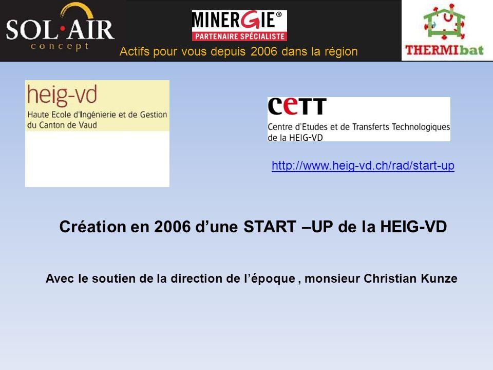 Actifs pour vous depuis 2006 dans la région Création en 2006 dune START –UP de la HEIG-VD Avec le soutien de la direction de lépoque, monsieur Christian Kunze http://www.heig-vd.ch/rad/start-up