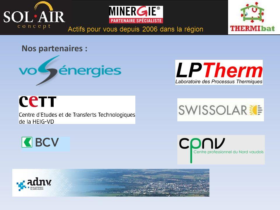 Actifs pour vous depuis 2006 dans la région Formation de professionnels : diplôme de Solarteur Membre du comité de pilotage et formateurs de la formation Solarteur Lieu HEIG-VD et Centre professionnel du Nord Vaudois.