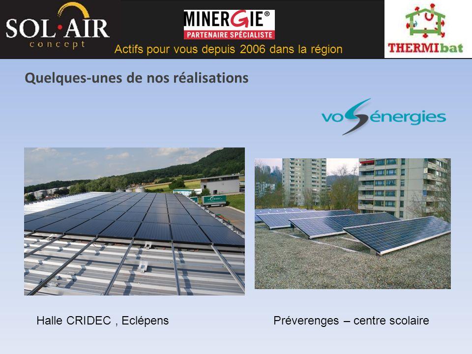 Actifs pour vous depuis 2006 dans la région Quelques-unes de nos réalisations Halle CRIDEC, EclépensPréverenges – centre scolaire