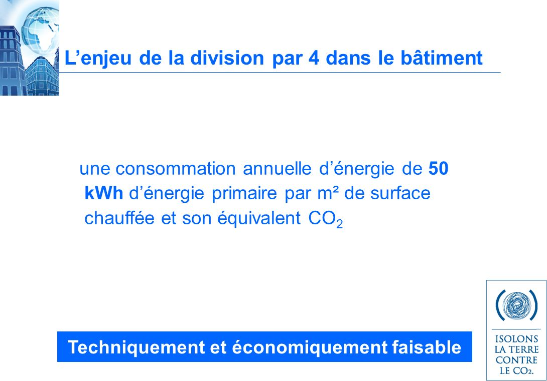 Lenjeu de la division par 4 dans le bâtiment une consommation annuelle dénergie de 50 kWh dénergie primaire par m² de surface chauffée et son équivalent CO 2 Techniquement et économiquement faisable