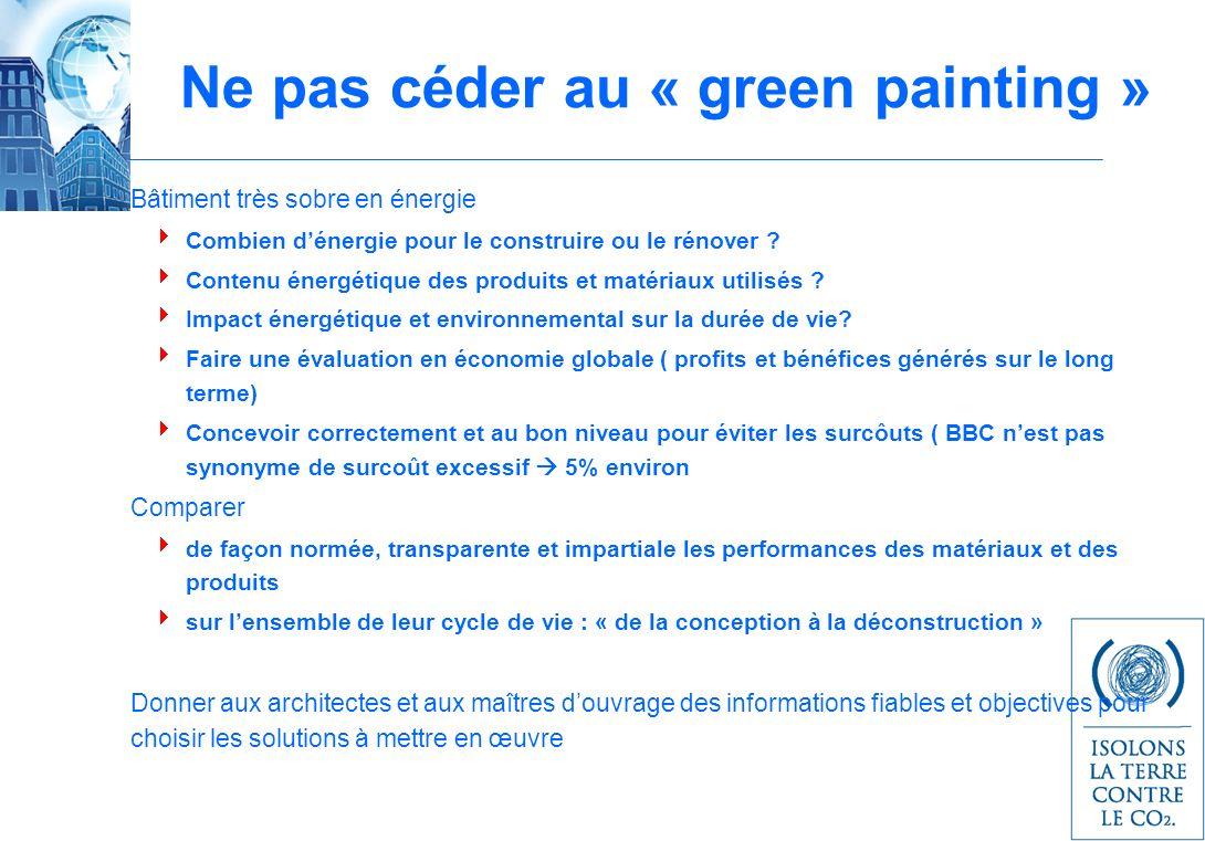 Ne pas céder au « green painting » Bâtiment très sobre en énergie Combien dénergie pour le construire ou le rénover ? Contenu énergétique des produits