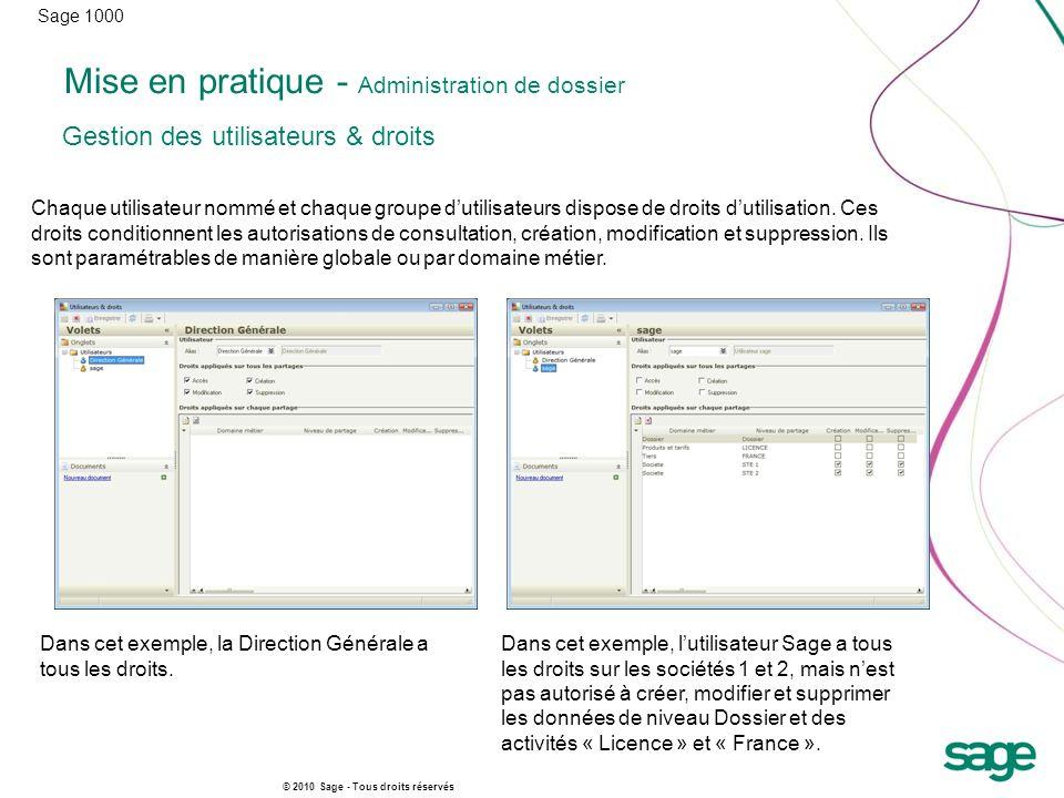 Sage 1000 © 2010 Sage - Tous droits réservés Mise en pratique - Administration de dossier Chaque utilisateur nommé et chaque groupe dutilisateurs dispose de droits dutilisation.