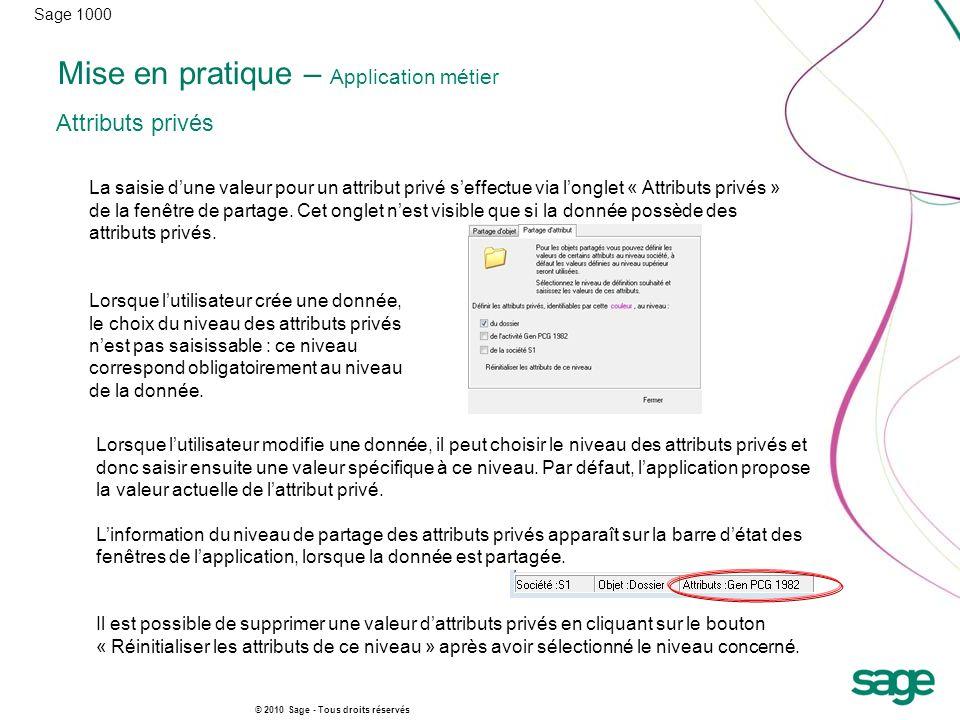 Sage 1000 © 2010 Sage - Tous droits réservés Mise en pratique – Application métier Attributs privés La saisie dune valeur pour un attribut privé seffe
