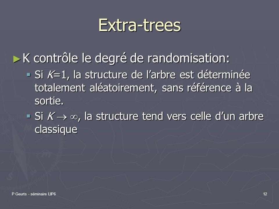 P Geurts - séminaire LIP612 Extra-trees K contrôle le degré de randomisation: K contrôle le degré de randomisation: Si K=1, la structure de larbre est