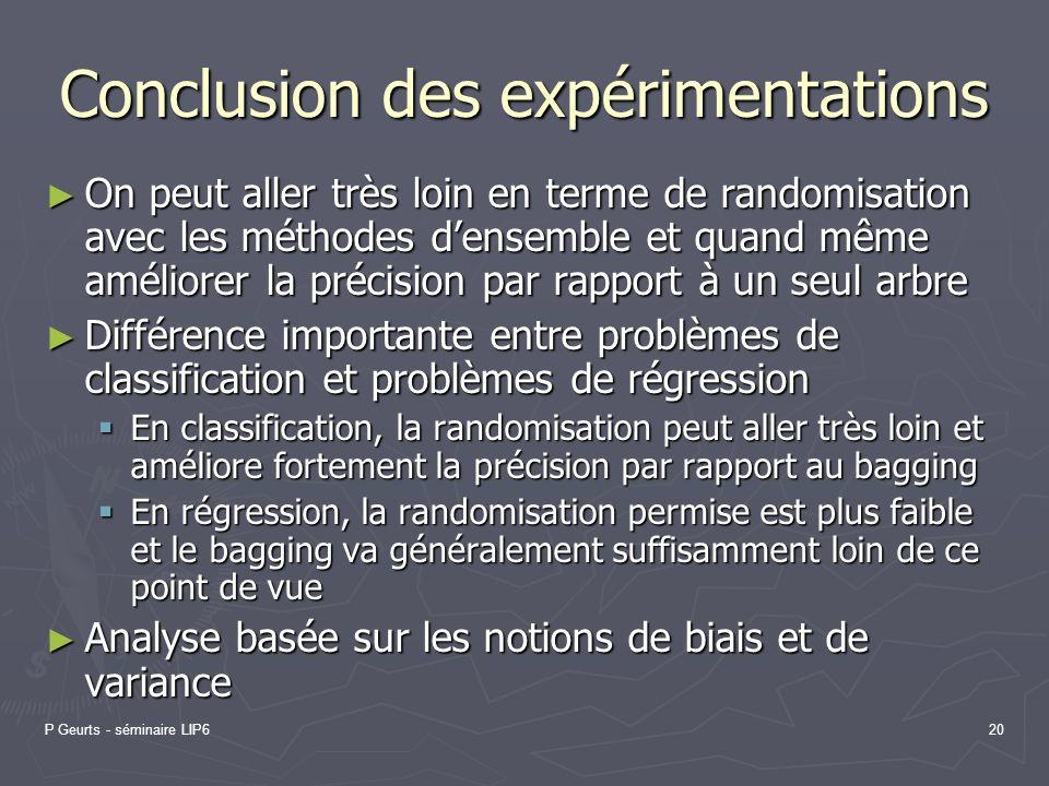 P Geurts - séminaire LIP620 Conclusion des expérimentations On peut aller très loin en terme de randomisation avec les méthodes densemble et quand mêm