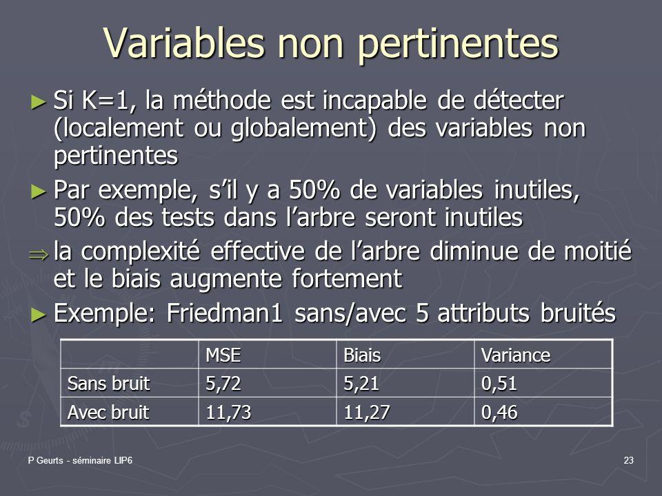P Geurts - séminaire LIP623 Variables non pertinentes Si K=1, la méthode est incapable de détecter (localement ou globalement) des variables non perti