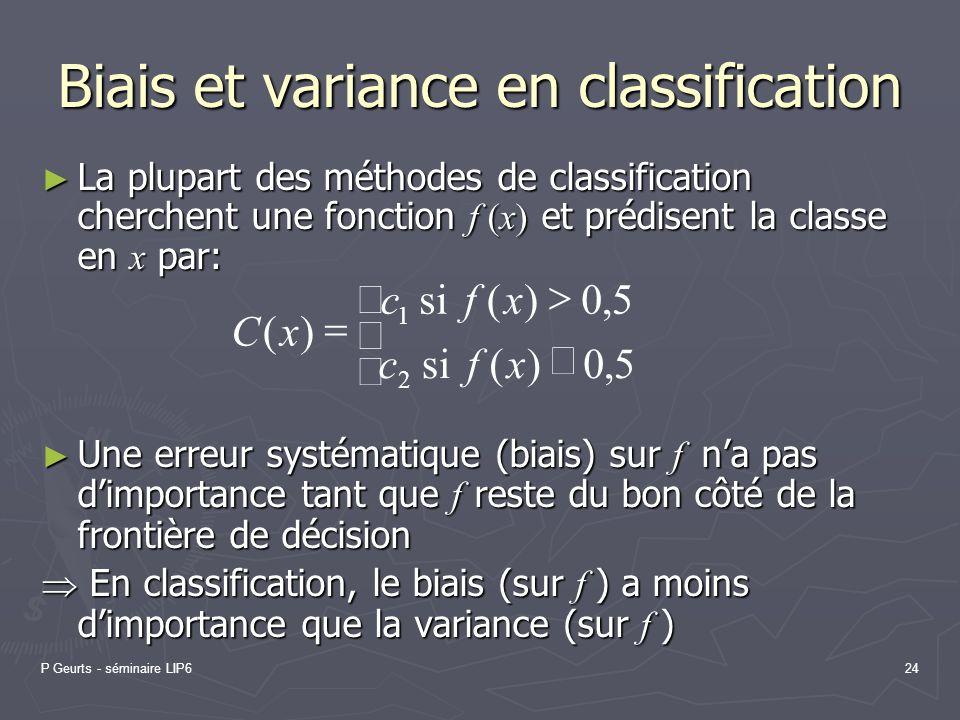 P Geurts - séminaire LIP624 Biais et variance en classification La plupart des méthodes de classification cherchent une fonction f (x) et prédisent la