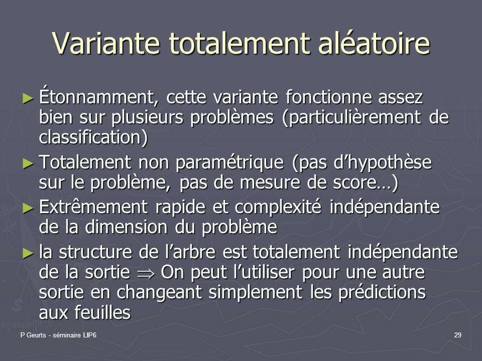 P Geurts - séminaire LIP629 Variante totalement aléatoire Étonnamment, cette variante fonctionne assez bien sur plusieurs problèmes (particulièrement