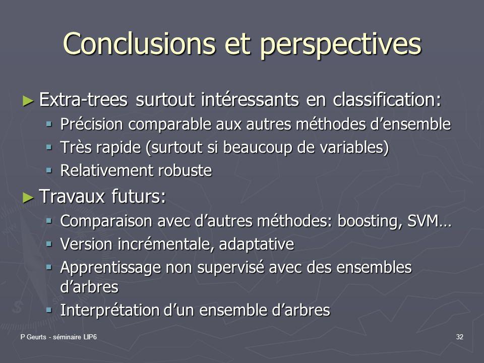P Geurts - séminaire LIP632 Conclusions et perspectives Extra-trees surtout intéressants en classification: Extra-trees surtout intéressants en classi