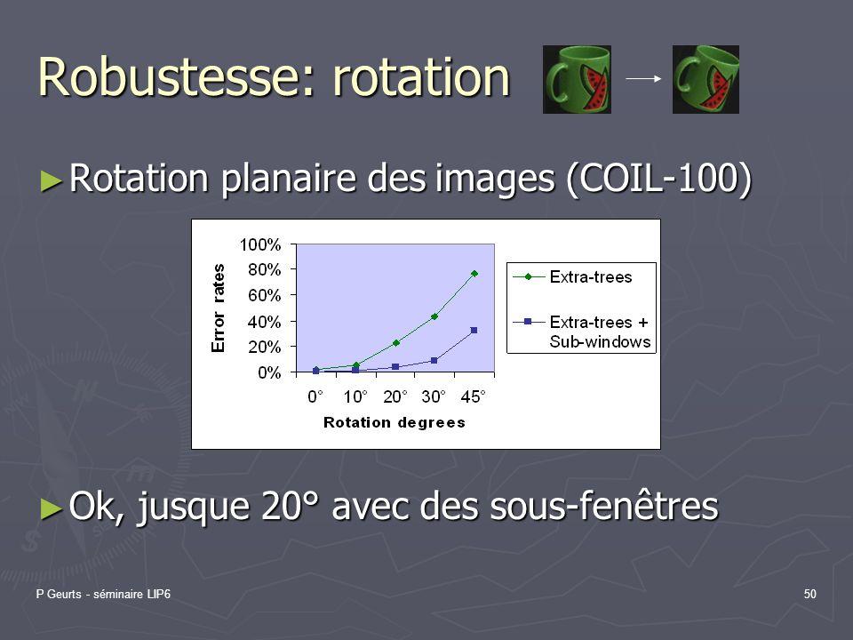 P Geurts - séminaire LIP650 Robustesse: rotation Rotation planaire des images (COIL-100) Rotation planaire des images (COIL-100) Ok, jusque 20° avec d
