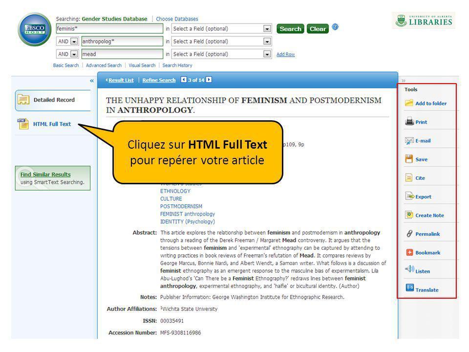 Cliquez sur HTML Full Text pour repérer votre article