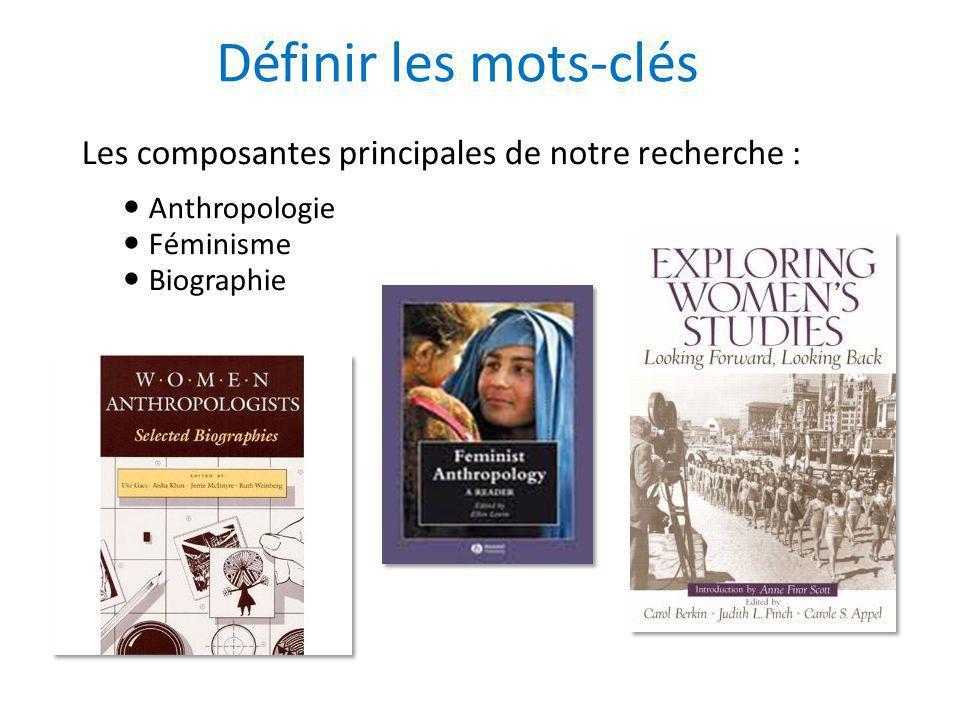 Définir les mots-clés Les composantes principales de notre recherche : Anthropologie Féminisme Biographie