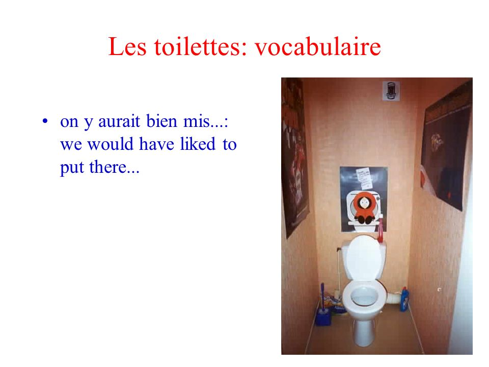 Les toilettes: vocabulaire on y aurait bien mis...: we would have liked to put there...