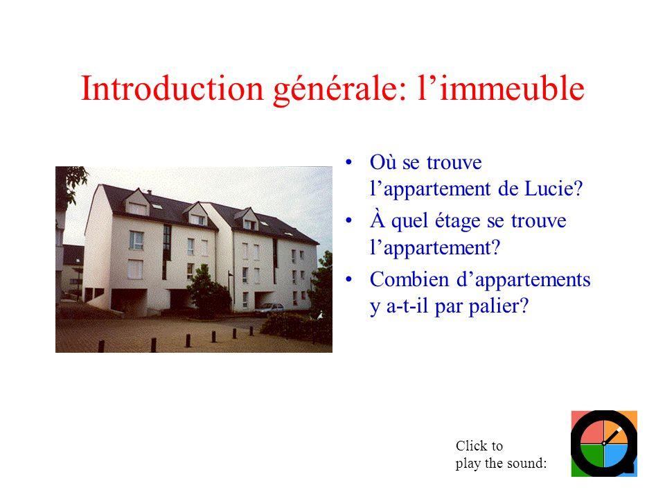 Introduction générale: limmeuble Où se trouve lappartement de Lucie? À quel étage se trouve lappartement? Combien dappartements y a-t-il par palier? C