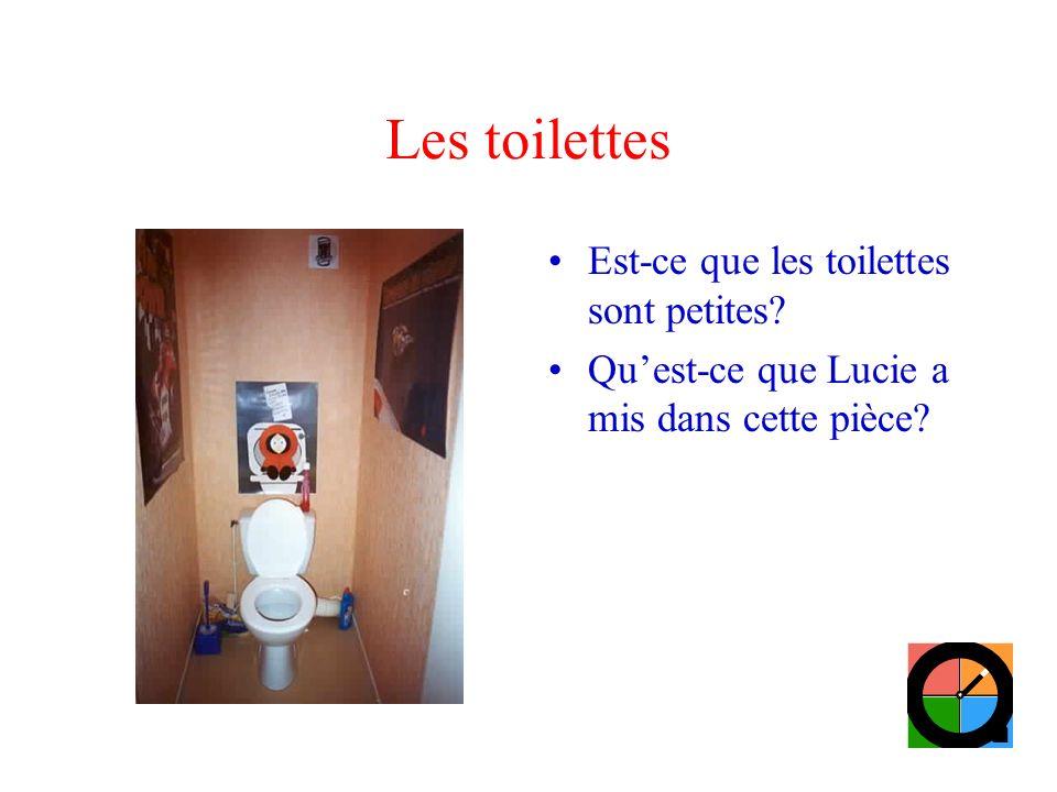 Les toilettes Est-ce que les toilettes sont petites? Quest-ce que Lucie a mis dans cette pièce?