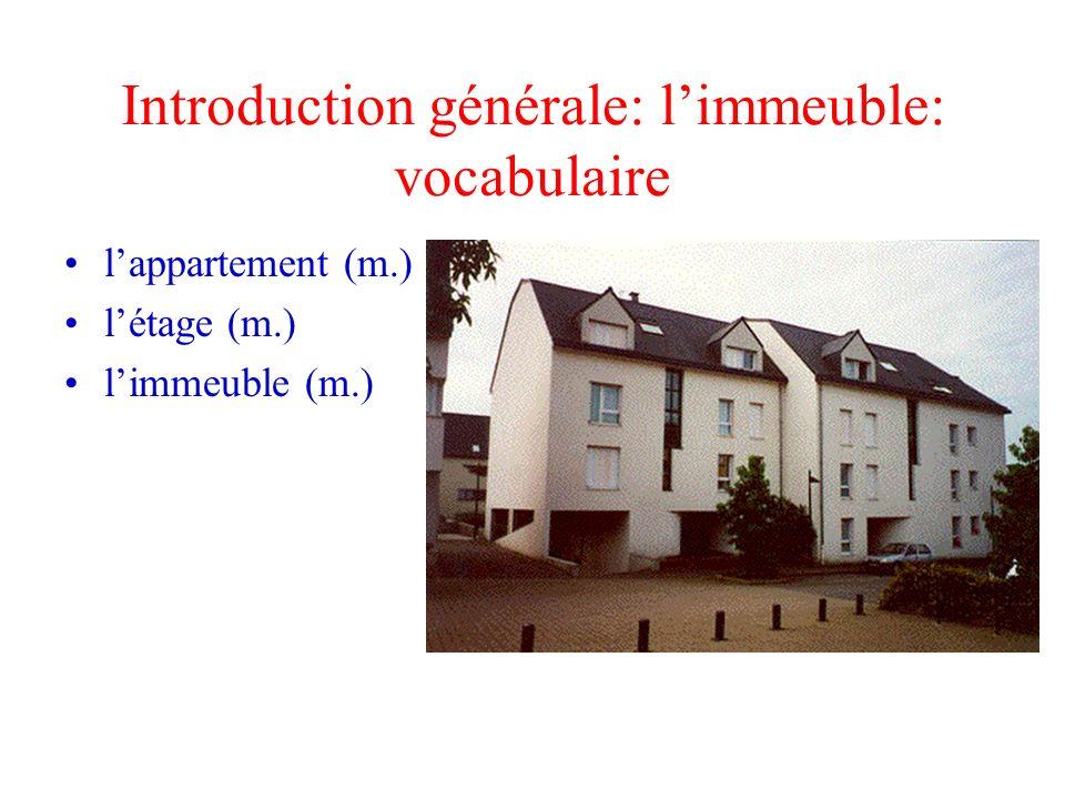 Introduction générale: limmeuble: vocabulaire lappartement (m.) létage (m.) limmeuble (m.)