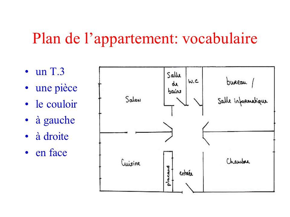 Plan de lappartement: vocabulaire un T.3 une pièce le couloir à gauche à droite en face