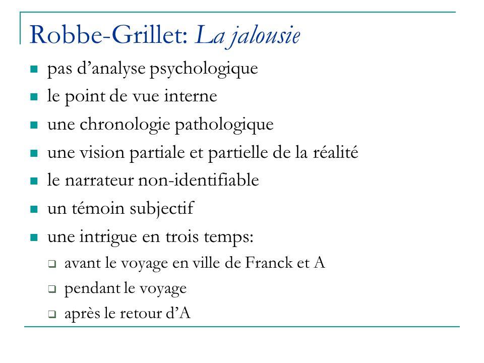 Robbe-Grillet: La jalousie pas danalyse psychologique le point de vue interne une chronologie pathologique une vision partiale et partielle de la réal