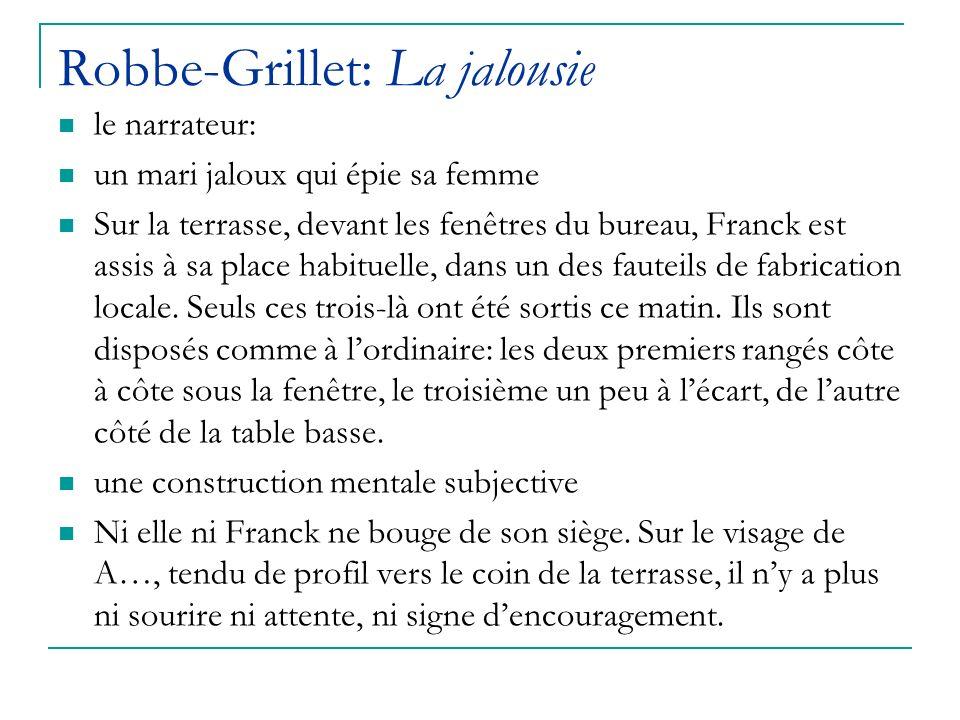 Robbe-Grillet: La jalousie le narrateur: un mari jaloux qui épie sa femme Sur la terrasse, devant les fenêtres du bureau, Franck est assis à sa place