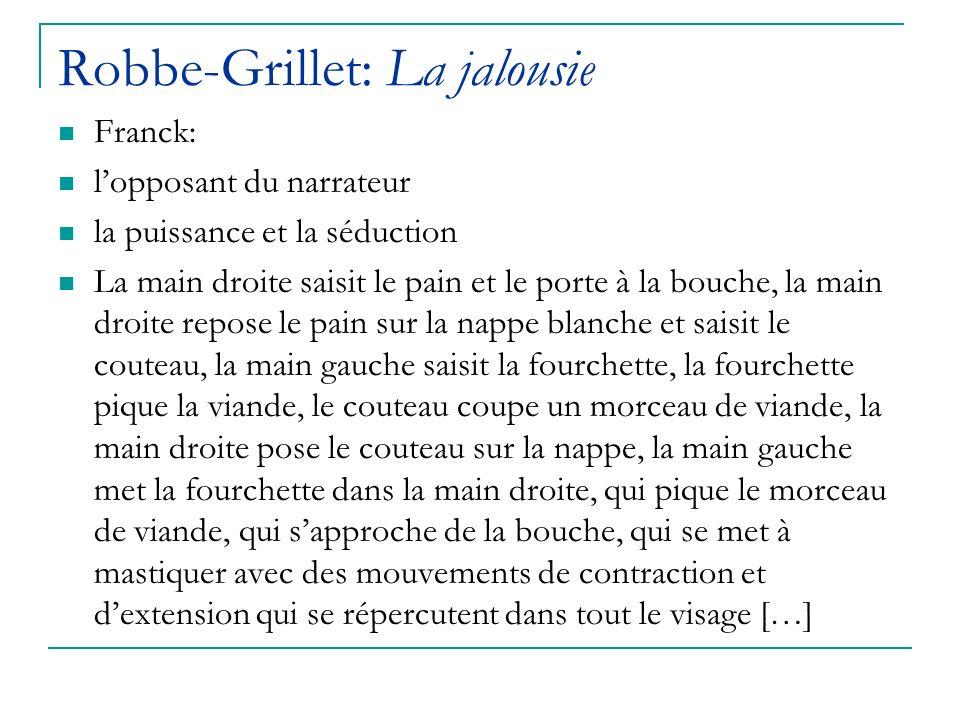 Robbe-Grillet: La jalousie Franck: lopposant du narrateur la puissance et la séduction La main droite saisit le pain et le porte à la bouche, la main