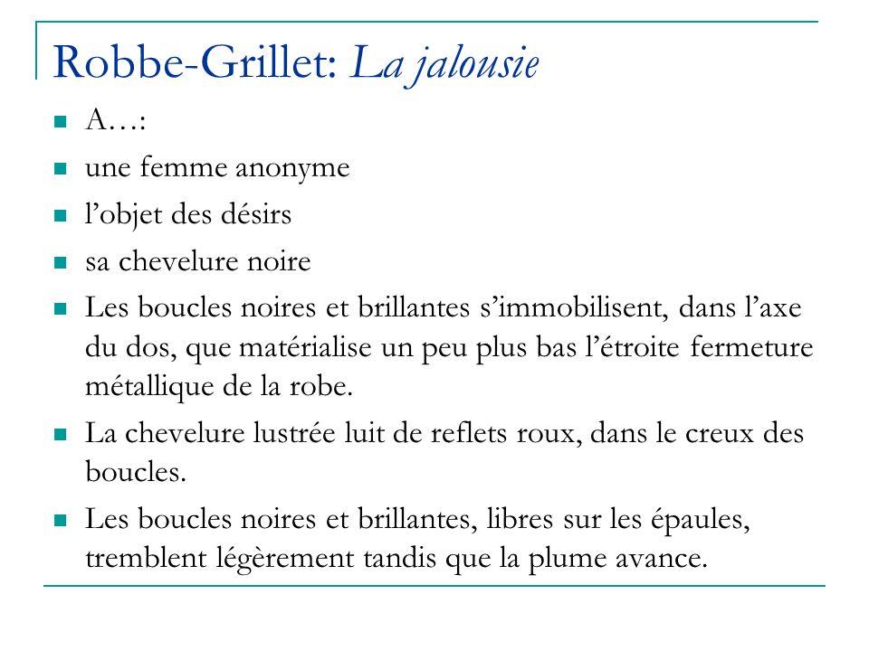 Robbe-Grillet: La jalousie A…: une femme anonyme lobjet des désirs sa chevelure noire Les boucles noires et brillantes simmobilisent, dans laxe du dos