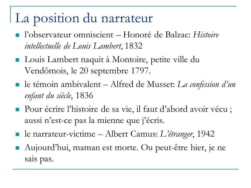 La position du narrateur lobservateur omniscient – Honoré de Balzac: Histoire intellectuelle de Louis Lambert, 1832 Louis Lambert naquit à Montoire, p